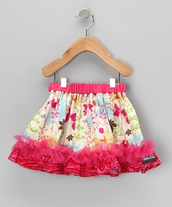 Hot Pink Floral Zebra Ruffle Skirt - Infant, Toddler & Girls
