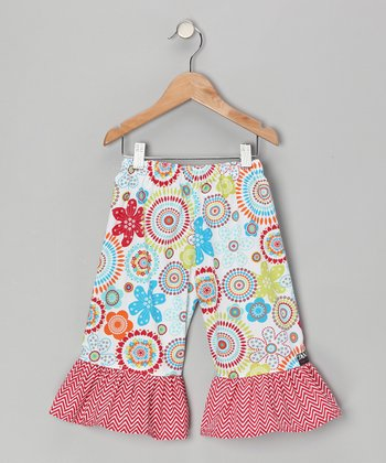 Red Floral Ruffle Capri Pants - Infant, Toddler & Girls