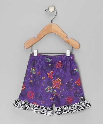 Purple Floral Ruffle Shorts - Infant, Toddler & Girls