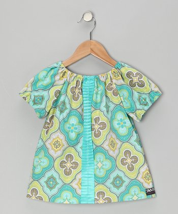Lime Green & Yellow Peasant Top - Infant, Toddler & Girls