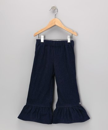 Dark Denim-Look Ruffle Pants - Infant, Toddler & Girls