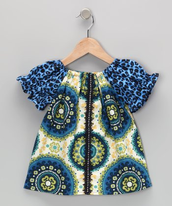 Blue & Lime Crystal Medallion Tunic - Infant, Toddler & Girls