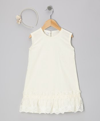 Cream Lace Ruffle Dress & Headband - Infant, Toddler & Girls
