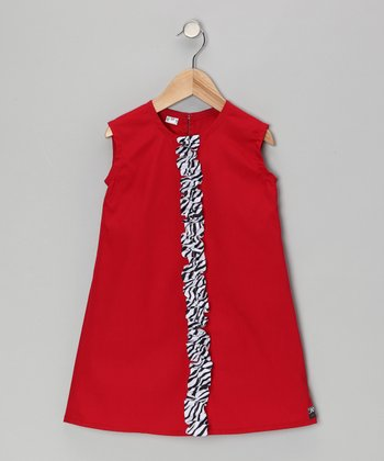 Red Zebra Ruffle Dress - Infant, Toddler & Girls