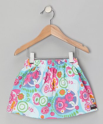 Turquoise & Pink Flower Skirt - Infant, Toddler & Girls