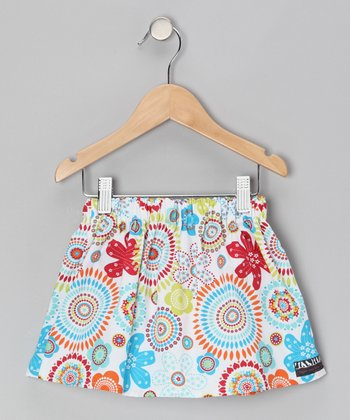Blue & Red Flower Skirt - Infant, Toddler & Girls