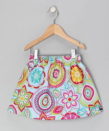 Pink & Blue Flower Skirt - Infant, Toddler & Girls