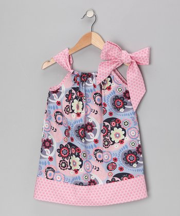 Blue & Pink Flower Bow Dress - Infant, Toddler & Girls