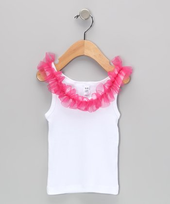 White & Pink Ruffle Tank - Infant, Toddler & Girls