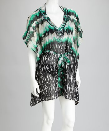 Aqua & Black Embellished Cover-Up