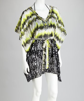 Yellow & Black Embellished Cover-Up
