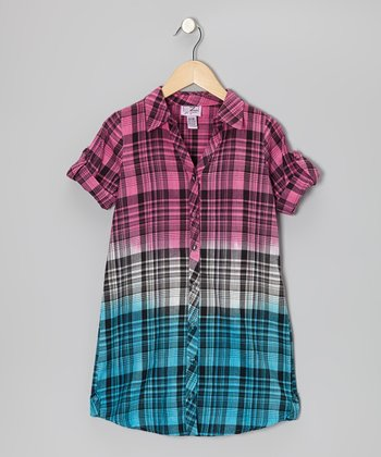 Shocking Pink & Blue Plaid Button-Up	 - Girls