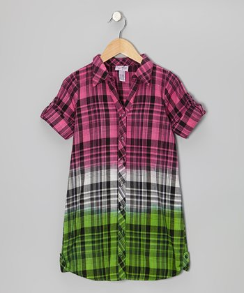 Shocking Pink & Lime Plaid Button-Up - Girls