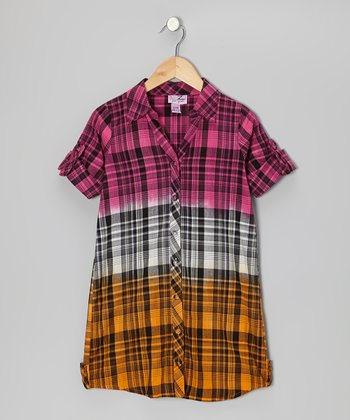 Shocking Pink & Orange Plaid Button-Up - Girls