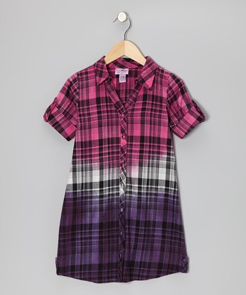 Shocking Pink & Purple Plaid Button-Up - Girls