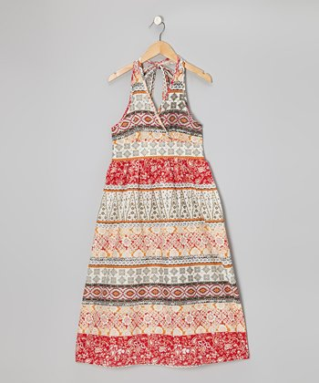 Orange Paisley Patchwork Maxi Dress - Girls