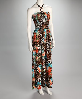 Brown & Blue Morning Glory Leopard Shirred Maxi Dress