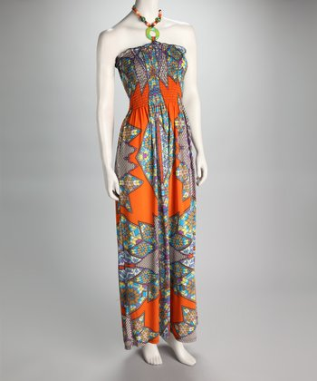 Orange & Blue Kaleidoscope Shirred Maxi Dress