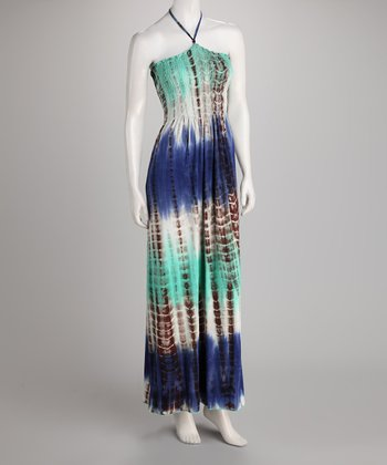 Cobalt & Green Tie-Dye Halter Dress