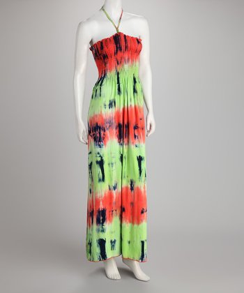Lime & Orange Tie-Dye Halter Dress