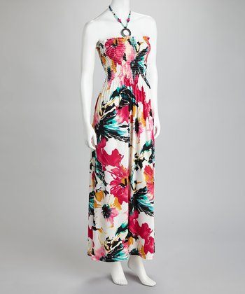 Fuchsia & White Floral Beaded Halter Maxi Dress