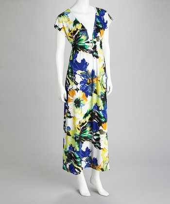 Yellow & White Floral Maxi Dress