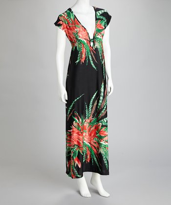 Black & Red Palm Maxi Dress