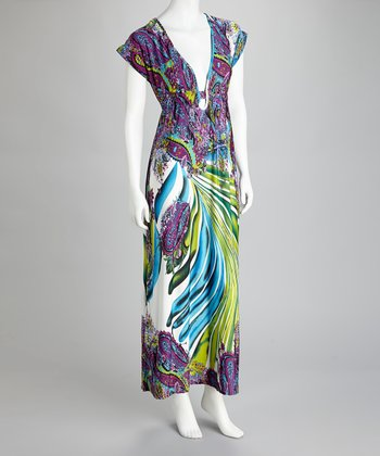 Purple & Green Paisley Palm Maxi Dress