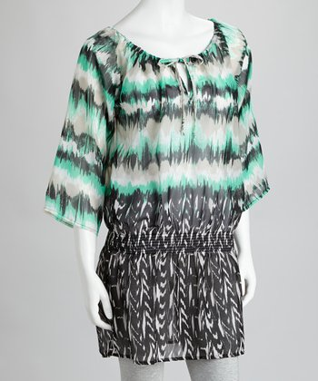 Aqua & Black Ikat Peasant Tunic
