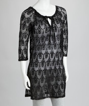 Black Floral Crocheted Peasant Tunic