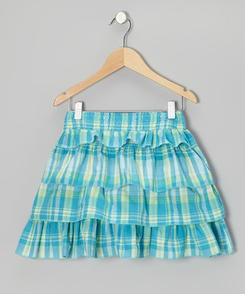 Turquoise Plaid Ruffle Skirt - Girls