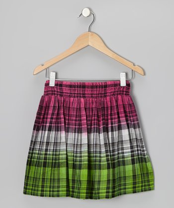 Shocking Pink & Lime Plaid Skirt - Girls