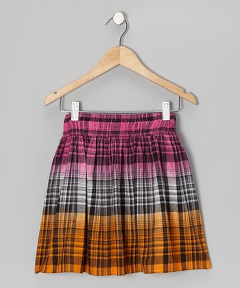 Shocking Pink & Orange Plaid Skirt - Girls