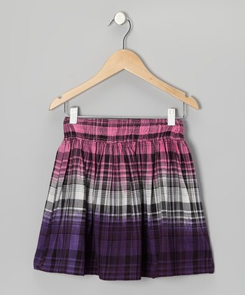 Shocking Pink & Purple Plaid Skirt - Girls