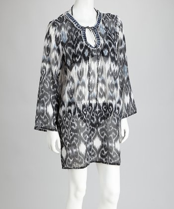 Black & Gray Ikat Cover-Up