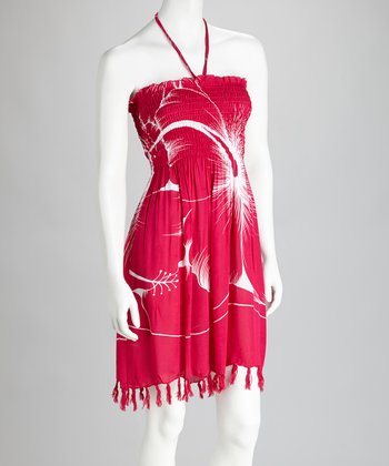 Pink & White Hibiscus Fringe Cover-Up Dress
