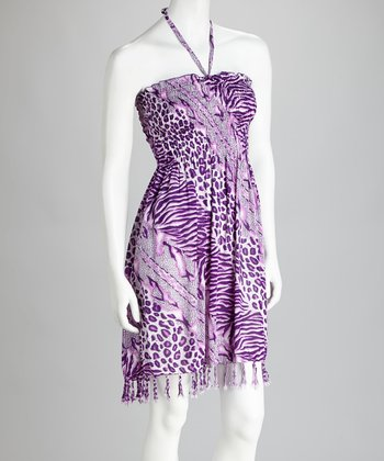 Purple & White Animal Fringe Cover-Up Dress