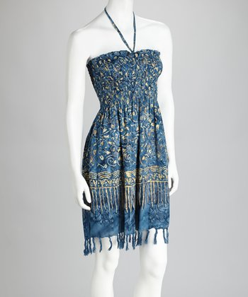 Blue & Gold Animal Fringe Cover-Up Dress