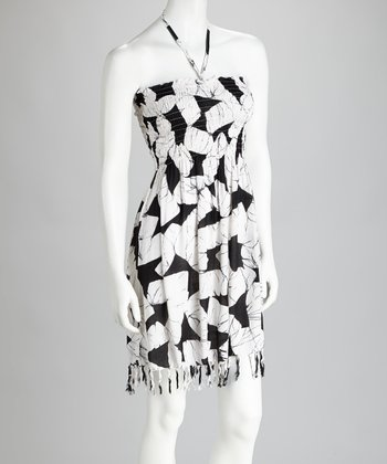 Black & White Fringe Cover-Up Dress