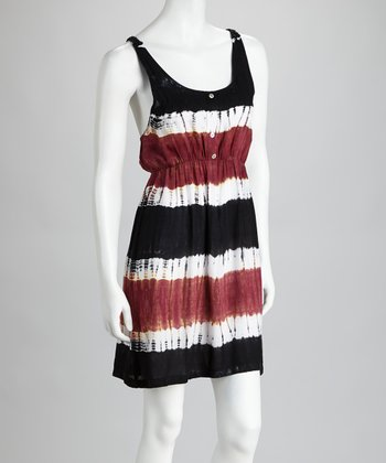 Berry & Black Crocheted Tie-Dye Dress