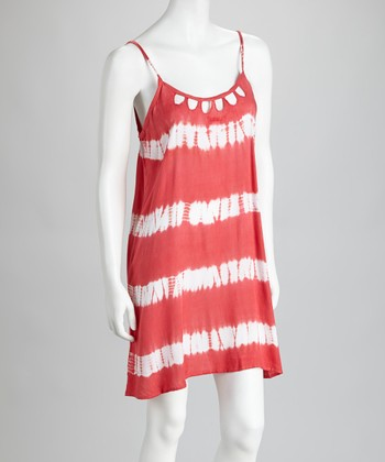 Coral & White Cutout Tie-Dye Dress