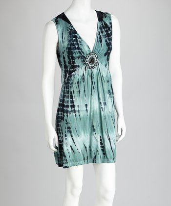Seafoam & Black Embellished Tie-Dye Cover-Up Dress