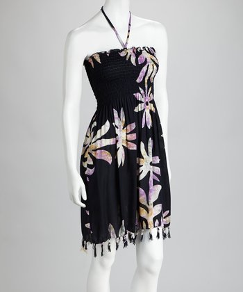 Black & Purple Tie-Dye Flower Fringe Cover-Up Dress