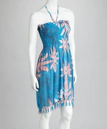 Turquoise & Purple Tie-Dye Flower Fringe Cover-Up Dress