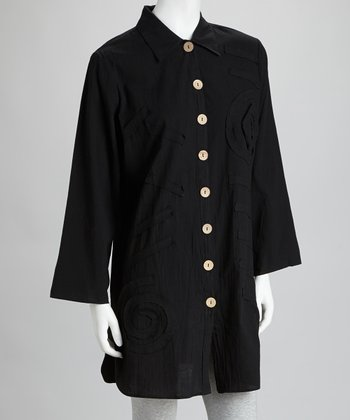 Black Voile Cover-Up Shirt
