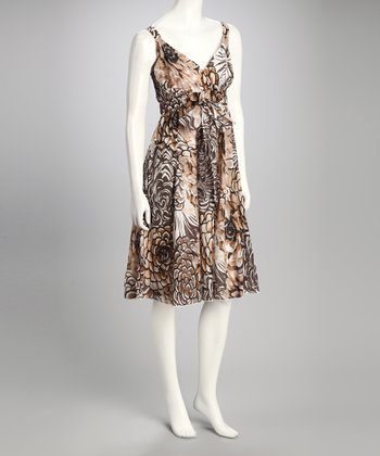 Brown Floral Surplice Dress