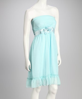Mint Ribbon Strapless Dress