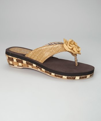Natural Diane Wedge Flip-Flop