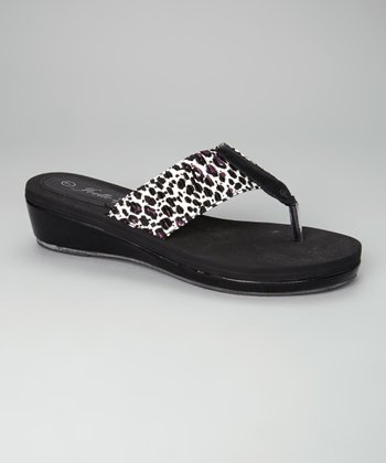 Black & White Leopard Emily Wedge Flip-Flop