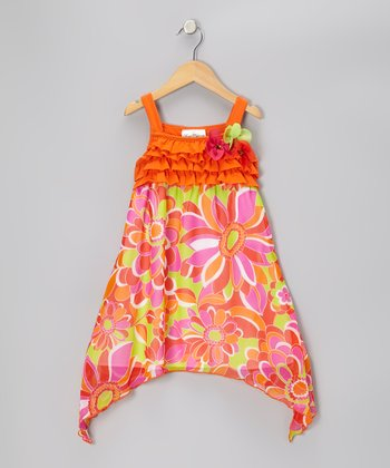 Orange & Pink Flower Ruffle Chiffon Dress - Girls